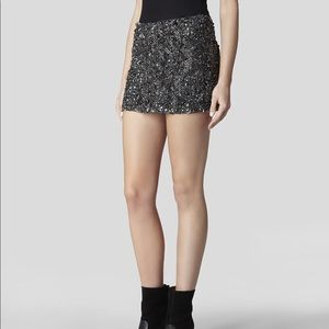 "All Saints ""Storm"" Heavily Embellished Mini Skirt"